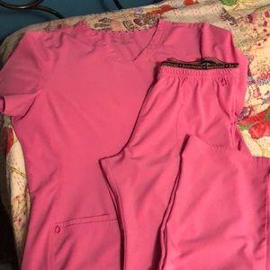 Heart soul scrub set pink